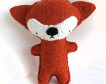 Orange Fox - Recycled Wool Sweater Plush Toy
