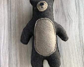Brown Bear - Upcycled Recycled Wool Sweater Plush Stuffie Toy