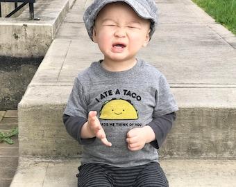 Heather Gray Taco Baby Toddler Kid Tshirt, Children's Graphic Tee, Unisex, Kawaii Cute, Funny, Ecofriendly, Taco Tuesday - Organic Shirt