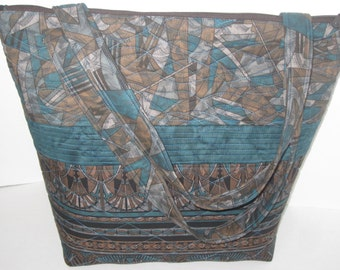 Tall Teal and Brown Tote Bag, 743