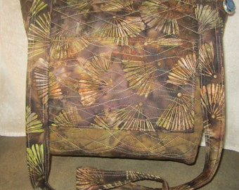 Luscious Chocolate Brown Quilted Batik Over the Body Bag with 7 pockets  716