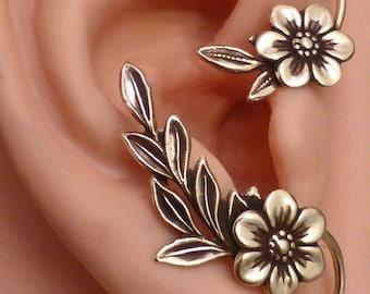 GOLDEN GARDEN Ear WRAP  Flower and Leaf Brass Ear Cuff Wrap