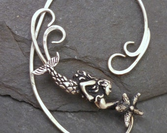 Sterling MERMAID SEA STAR Ear Wrap Handcrafted 925 Ocean Starfish Ear Adornment