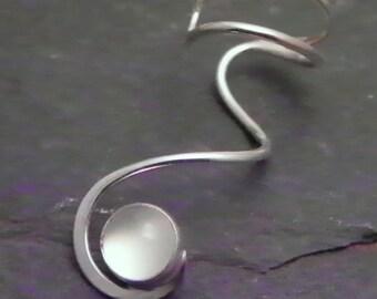MOONSTONE Silver EAR CUFF -  Sterling Silver Swirl Ear Wrap 925 Earcuff