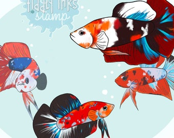 Betta Fish | 4 Digital Stamps and Colored Versions