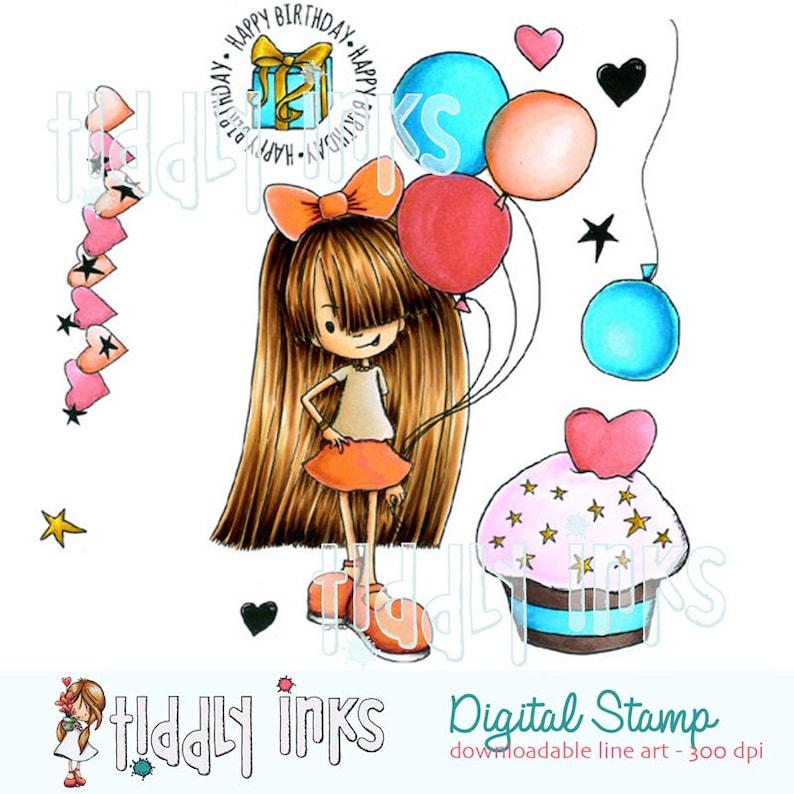 Starry Birthday Digital Stamp image 0