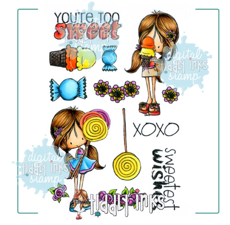 Summer Sweets  2 Digital Stamps image 0
