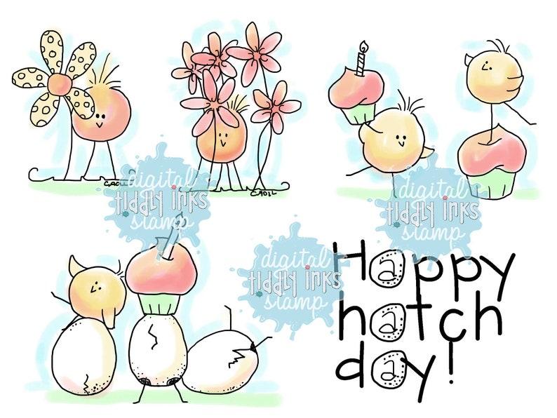 Happy Hatch Day Birds  Digital Stamps image 0