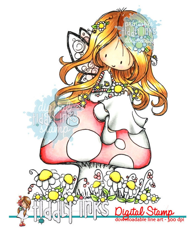 Wryn  Fairy Happy Day  Digital Stamp image 0