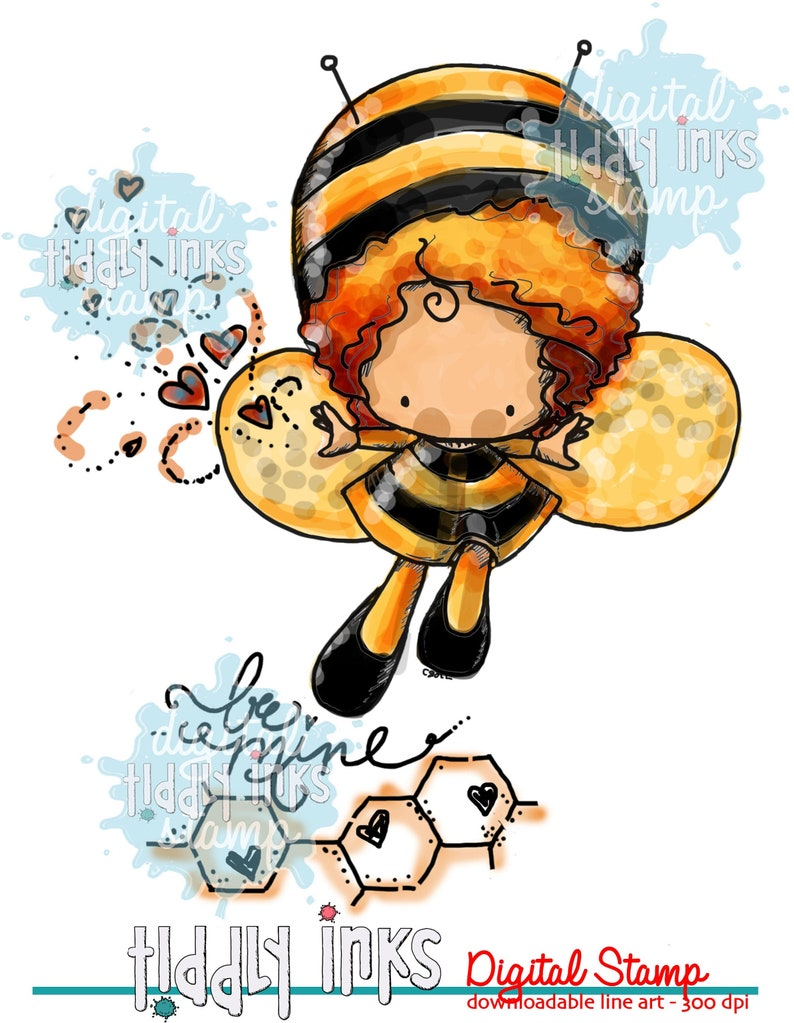 Bee Mine Love Bug  Digital Stamp image 0