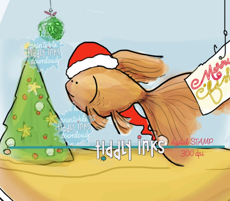 Merry Fishmas Wishes  9 Digital Stamps image 0