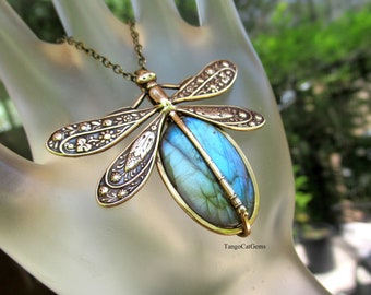labradorite Dragonfly Pendant Necklace