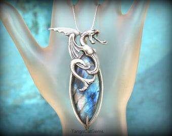 Labradorite Pendant  Necklace Silver Serpent