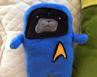 Bones - Dr. PugCoy - The Star Trek Black Pug Bummlie ~ Stuffing Free Dog Toy ~ Ready To Ship Today