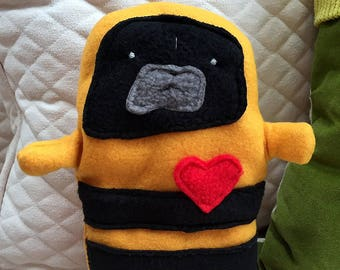 Bizzy ~ The Black Pug-a-Bee Bummlie ~ Stuffing Free Dog Toy ~ Ready To Ship Today