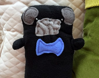 Oliver~ The Black Pug Bow Tie Bummlie ~ Stuffing Free Dog Toy ~ Ready To Ship Today - Blue Bow Tie