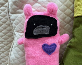 Evy ~ The Black Pug Bunny Bummlie ~ Stuffing Free Dog Toy ~ Ready To Ship Today