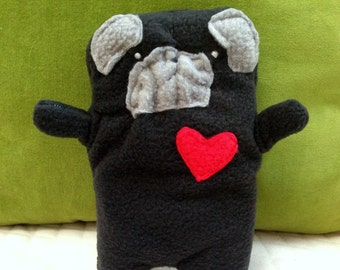 Pearl ~ The Black Pug Bummlie ~ Stuffing Free Dog Toy ~ Ready To Ship Today