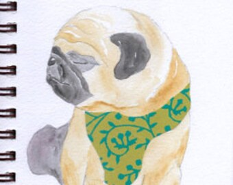 "Pug Print - Sketchbook Series - Watercolor & Collage - ""Squeezebox"""