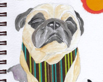 """Pug Print - Sketchbook Series - Watercolor & Collage - """"Laissez-Faire"""""""