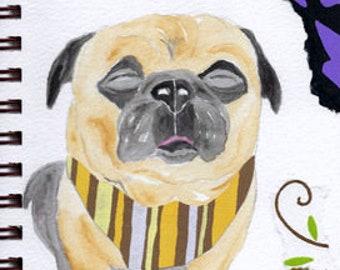 "Pug Print - Sketchbook Series - Watercolor & Collage - ""Hunky-Dory!"""