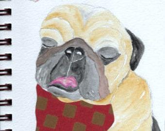 """Pug Print - Sketchbook Series - Watercolor & Collage - """"Buccaneer"""""""