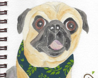 """Pug Print - Sketchbook Series - Watercolor & Collage - """"Pizzazz"""""""