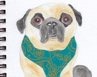 "Pug Print - Sketchbook Series - Watercolor & Collage - ""Egads!"""