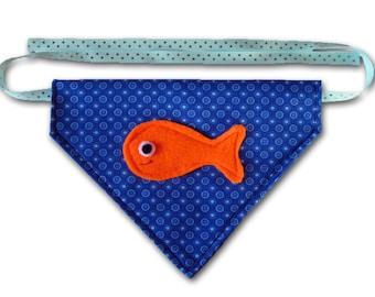 Go Fish FUNdana - Pet Bandana - Blue - Ready To Ship Today