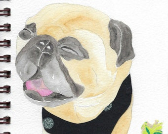 """Pug Print - Sketchbook Series - Watercolor & Collage - """"Whippersnapper"""""""