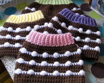 S, XXS or XS Custom Chocolate Cupcake Dog Sweater Vest - Pick Your Favorite Frosting - Made to Order for you