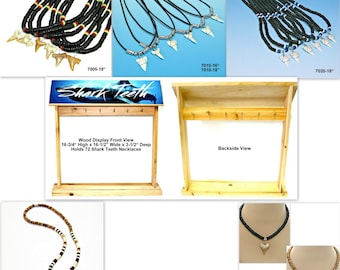 WHOLESALE PRICED 72 Pc Lots Fossil Shark Tooth Surfer Necklaces with Wood Counter Display Sharks Teeth