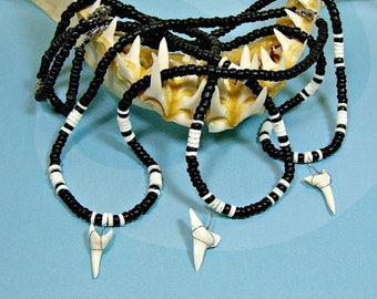 """Real Mako Shark Teeth Necklace With Adjustable Black Cord 14/""""-22/"""" 1-5//8/"""" Tooth"""
