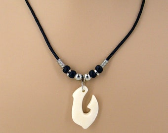 """Necklace Fish Hook, Carved Bone Pendant on a 19"""" Black Cord with Silver and Black Beads, Surfer Hawaiian 7076"""