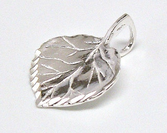 Aspen Tree Leaf Sterling Silver Pendant Charm or Necklace Customize no. 1984