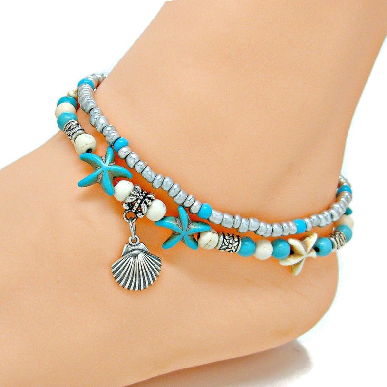 Sterling Silver Scallop Shell Starfish Anklet 2 Strand Beaded image 0