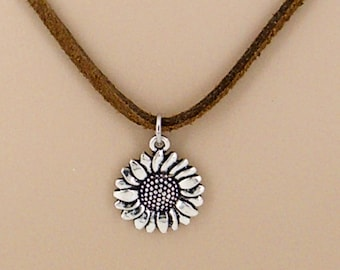 Silver Sunflower Suede Necklace or Choker, Choice of Colors and Lengths 9003-99