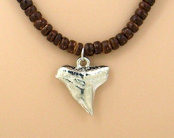"""Silver Shark Tooth 18"""" 21"""" 24"""" Necklace 4-5mm Brown Coconut Beads, Beach Surfer Tribal SUP 7053-06"""
