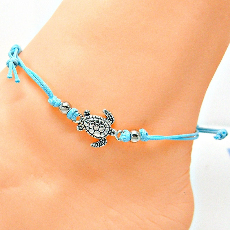 Anklet Silver Sea Turtle Blue Adjustable Cord Friendship image 0