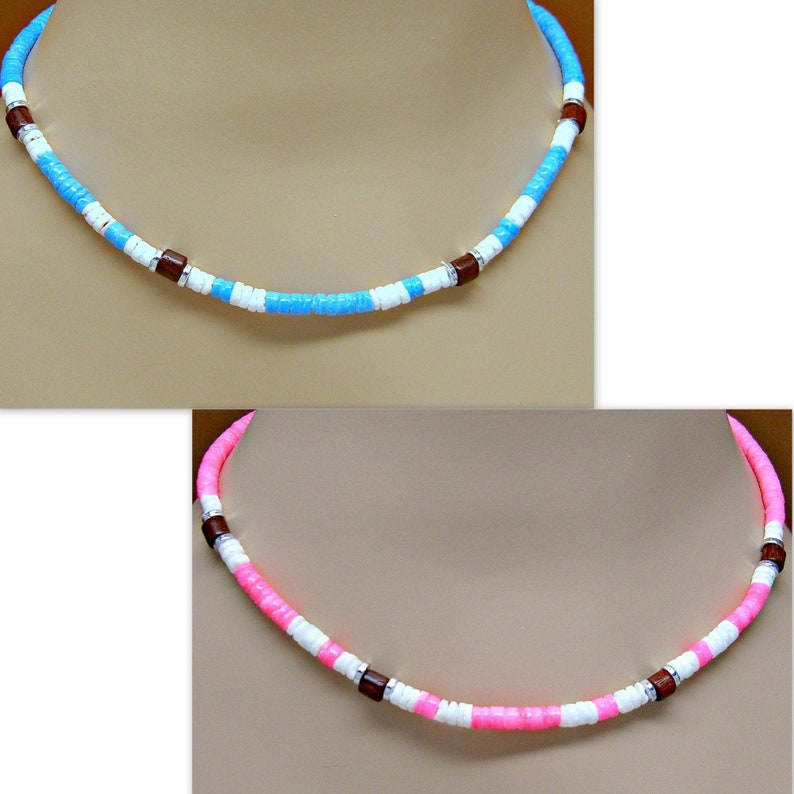 Necklace Pink or Turquoise and White Puka Shell Wood Beads image 0