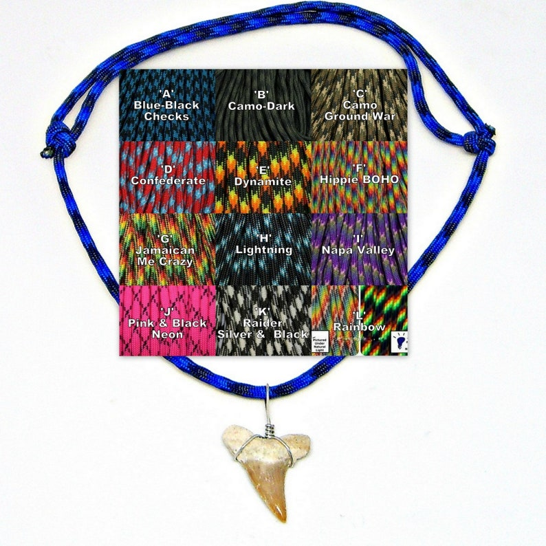 XL Fossil Shark Tooth Adjustable Paracord Necklace 12 Pc Lots image 0