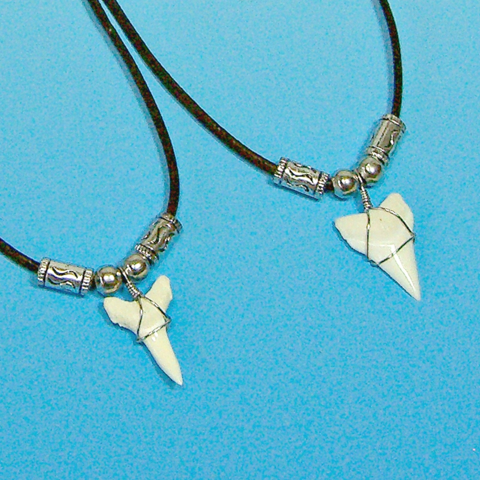 Large shark tooth pendant beads black cord necklace
