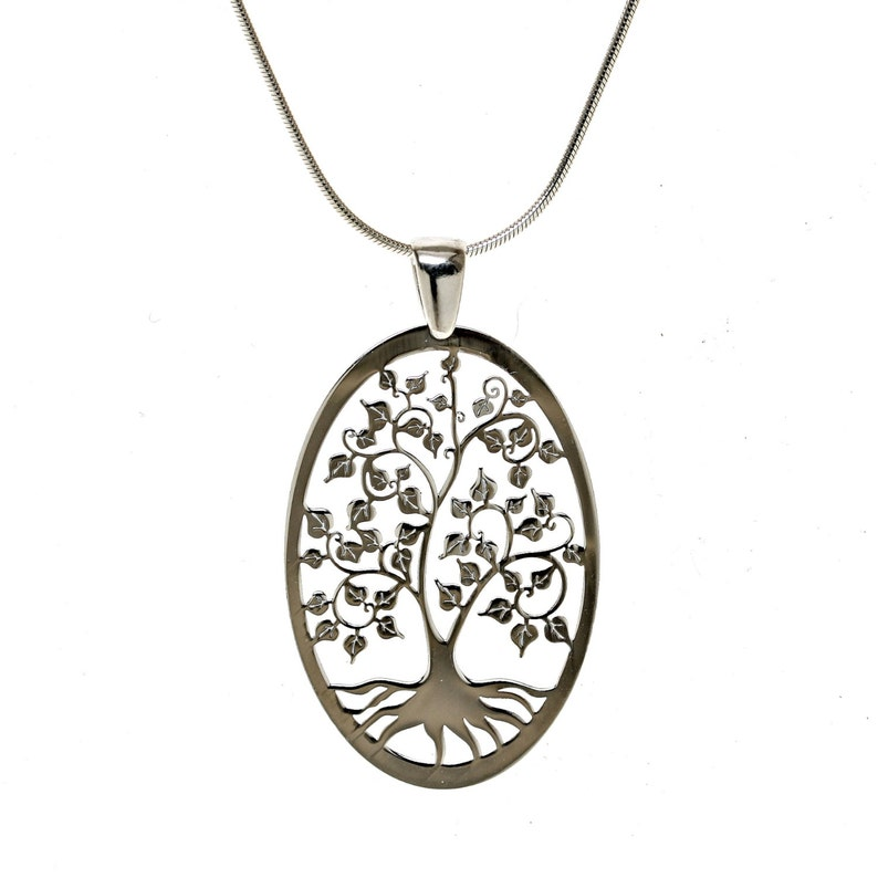 d75794b6b426 Family Tree of Life Sterling Silver Large Oval Laser Cut
