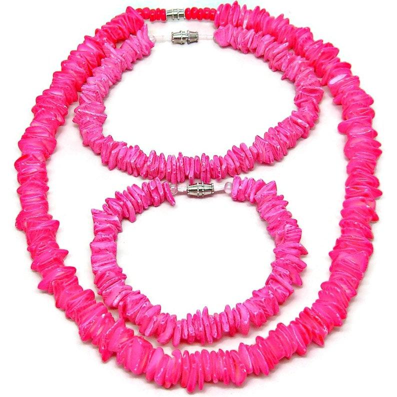 3 Piece Set Pink Puka Sea Shell Anklet Bracelet 18 inch image 0