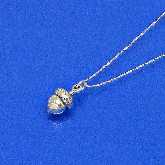 ACORN Sterling Silver Pendant-Charm Customize Necklace or Attachement Choices no 1961