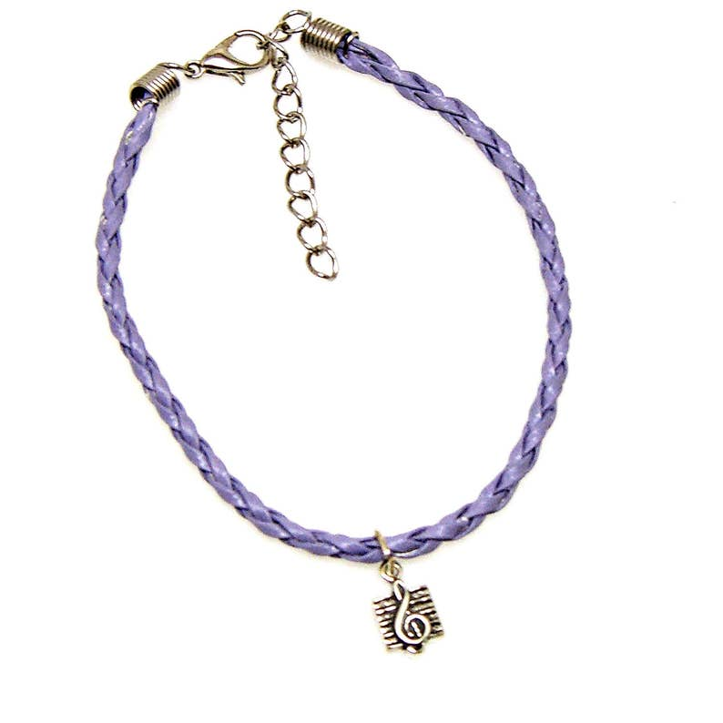 Bracelet or Anklet Adjustable Treble Clef Music Note Pewter Pendant Charm Friendship Braided Faux Leather 19 Colors 1702
