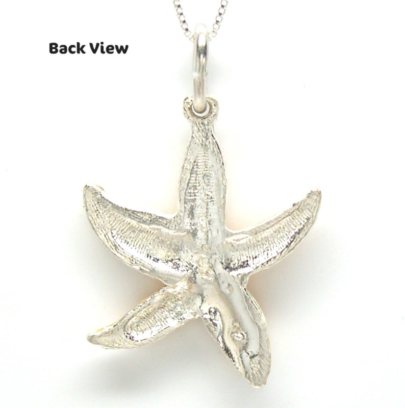 2120 Starfish Sterling Silver Hand Enameled Beach Pendant Charm no