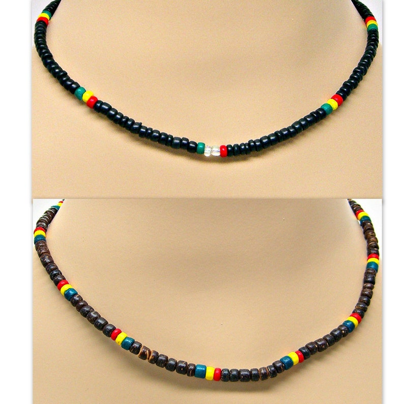 24 Inches Two Colors Black or Brown 4-5mm Coconut Beads Tribal Surfer Beach7001M Shark Tooth Rasta Necklace 18 21