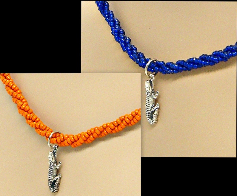Gator Sterling Silver Necklace Braided Seed Beads Beaded Multi Strand 18 Inches Florida Colors 1842GN