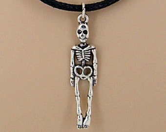 Silver Skeleton Necklace Black Adjustable Slide Cord Fits Youth to Adult, Halloween, Skull Jewelry SUP 9001-100